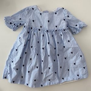 Gymboree embroidered heart & ruffle striped dress
